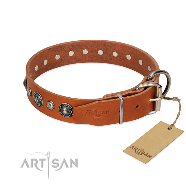 Soft Full grain natural leather dog collar with rust resistant buckle