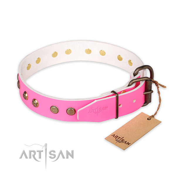 Strong D-ring on genuine leather collar for your impressive doggie