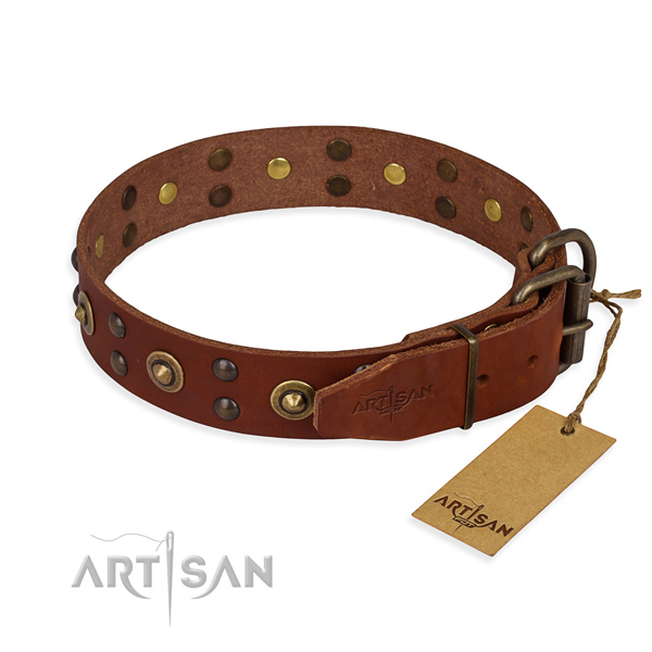 Corrosion proof fittings on genuine leather collar for your stylish four-legged friend