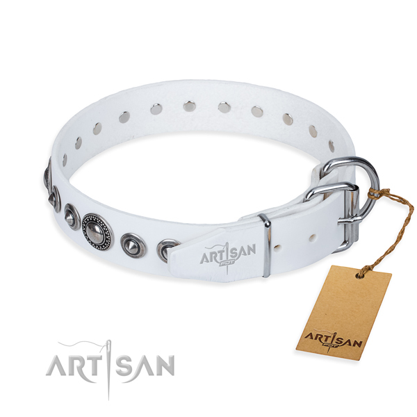 Full grain natural leather dog collar made of top rate material with reliable embellishments