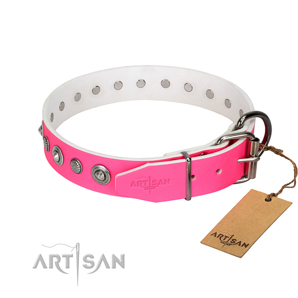 Finest quality genuine leather dog collar with amazing decorations