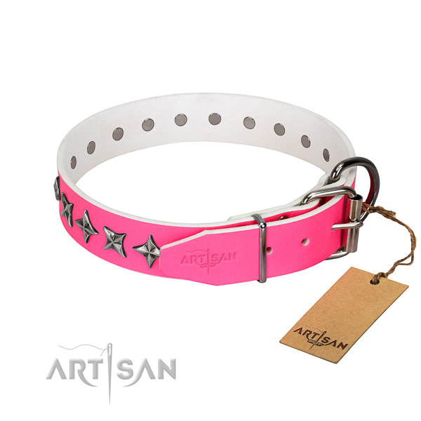 Strong natural leather dog collar with designer decorations