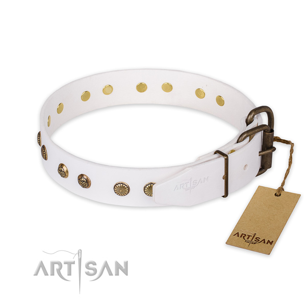 Corrosion proof fittings on genuine leather collar for your lovely dog