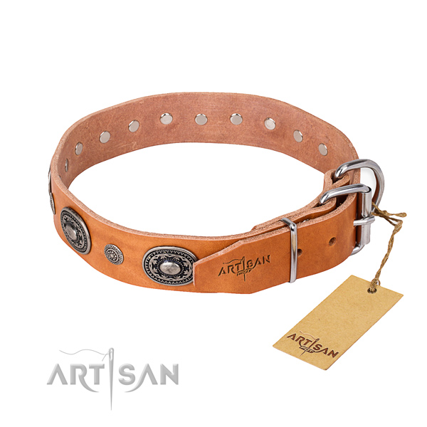 Top notch full grain leather dog collar made for easy wearing