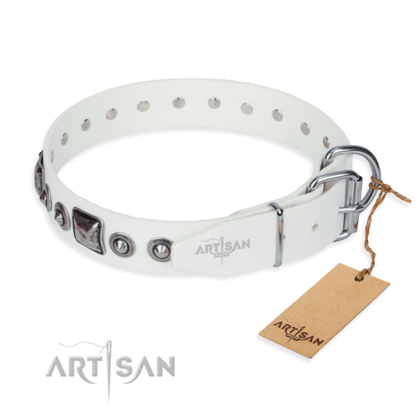 Gentle to touch genuine leather dog collar handcrafted for comfortable wearing