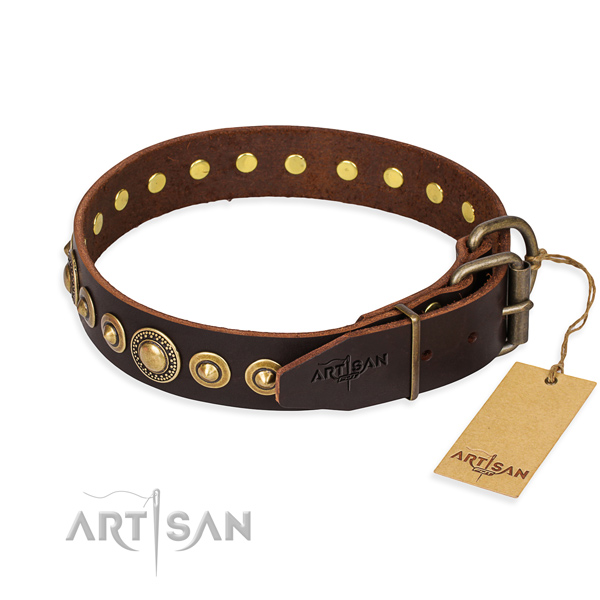 Soft to touch natural genuine leather dog collar created for comfy wearing