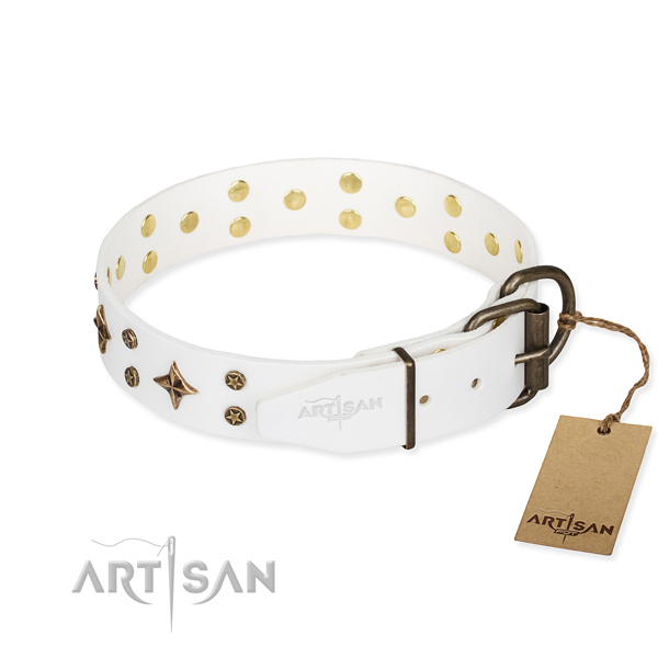 Easy wearing embellished dog collar of top notch full grain leather