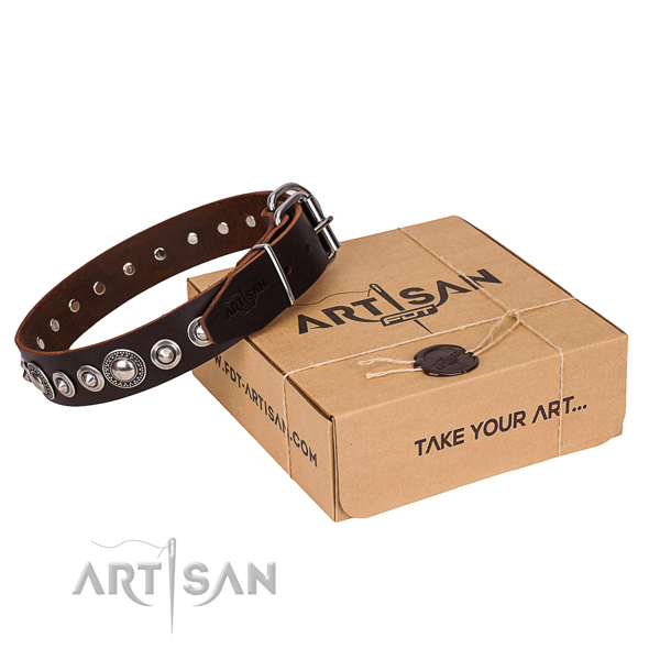 Strong full grain genuine leather dog collar