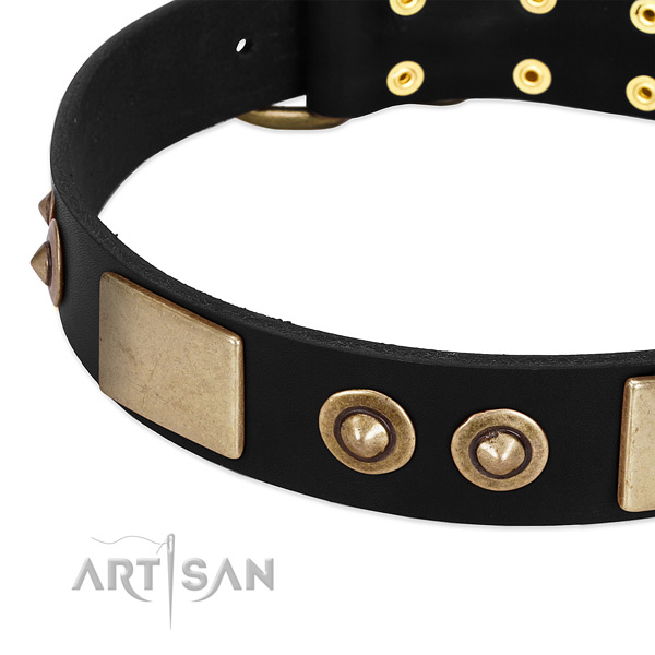 Durable D-ring on full grain leather dog collar for your canine