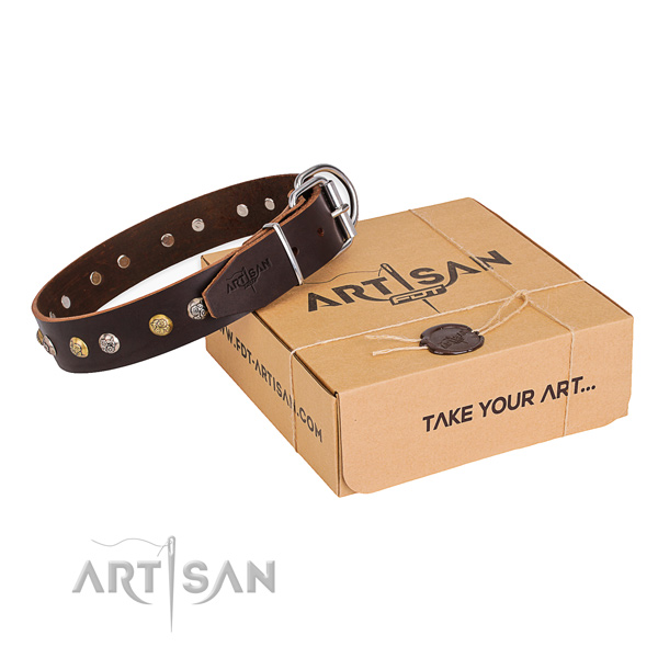 Quality full grain genuine leather dog collar crafted for comfortable wearing