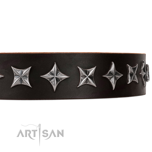 Everyday walking embellished dog collar of fine quality full grain genuine leather