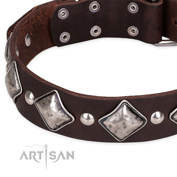 Easy wearing studded dog collar of reliable full grain natural leather
