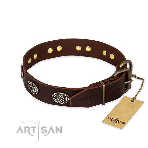 Durable D-ring on full grain genuine leather collar for your handsome dog