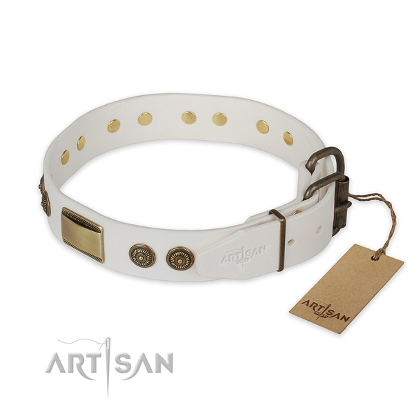 Durable D-ring on natural genuine leather collar for basic training your doggie