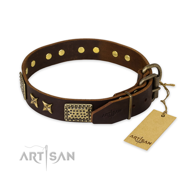 Corrosion resistant buckle on full grain genuine leather collar for your beautiful canine