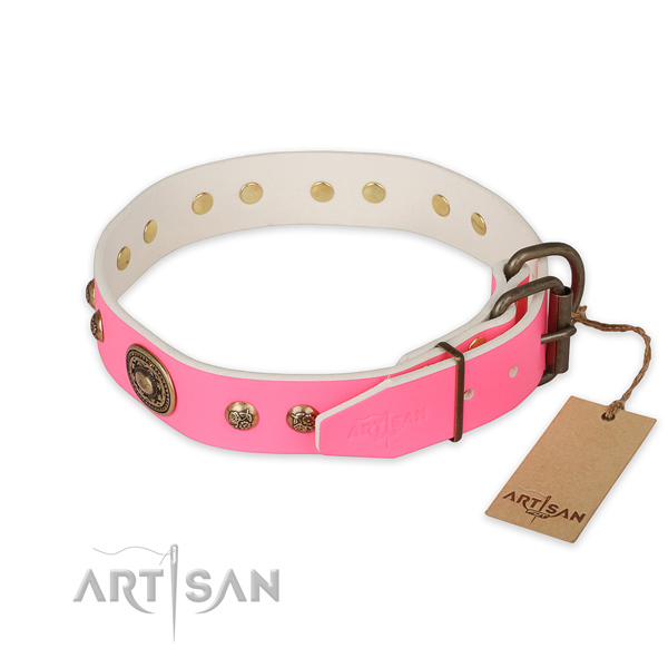 Rust-proof buckle on natural genuine leather collar for basic training your dog