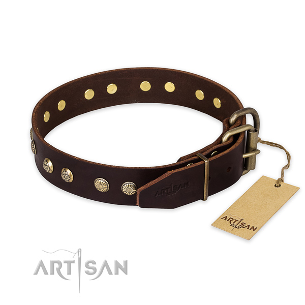 Corrosion proof fittings on full grain leather collar for your lovely doggie