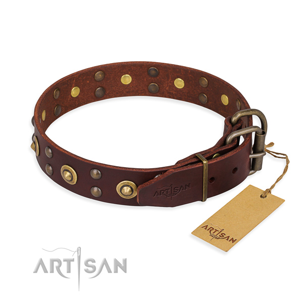 Rust-proof fittings on full grain natural leather collar for your attractive canine
