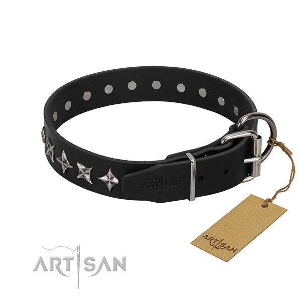 Handy use embellished dog collar of fine quality leather