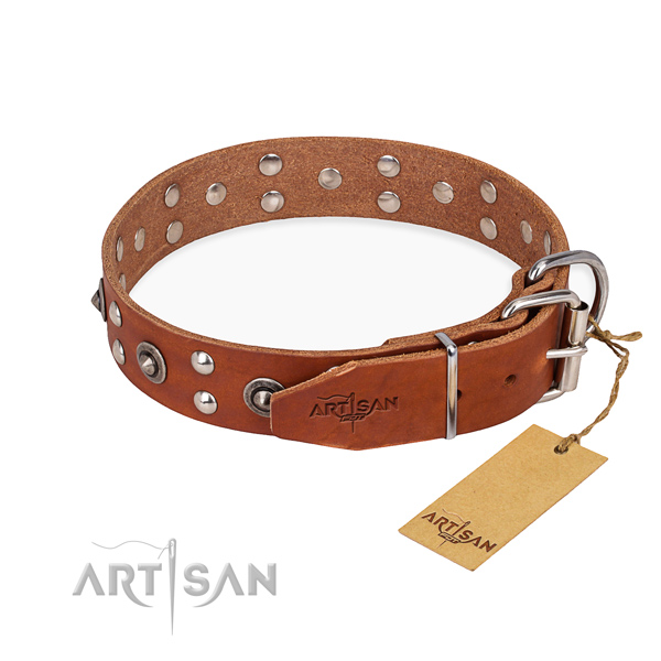 Corrosion resistant buckle on full grain genuine leather collar for your beautiful doggie