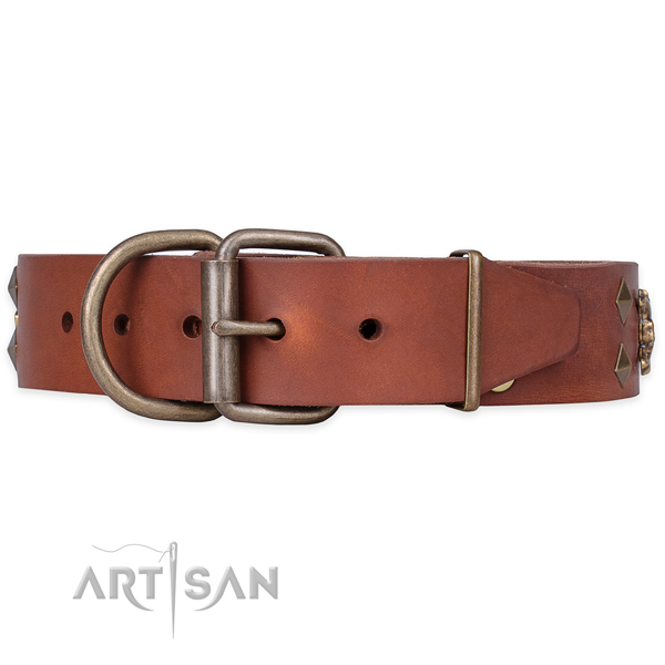 Easy wearing decorated dog collar of reliable natural leather
