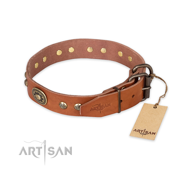 Corrosion proof D-ring on genuine leather collar for fancy walking your pet