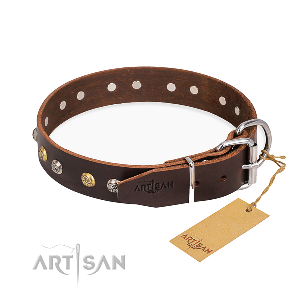 Soft full grain natural leather dog collar crafted for handy use