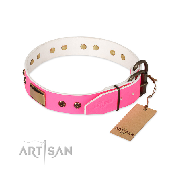 Genuine leather dog collar with corrosion proof buckle and embellishments