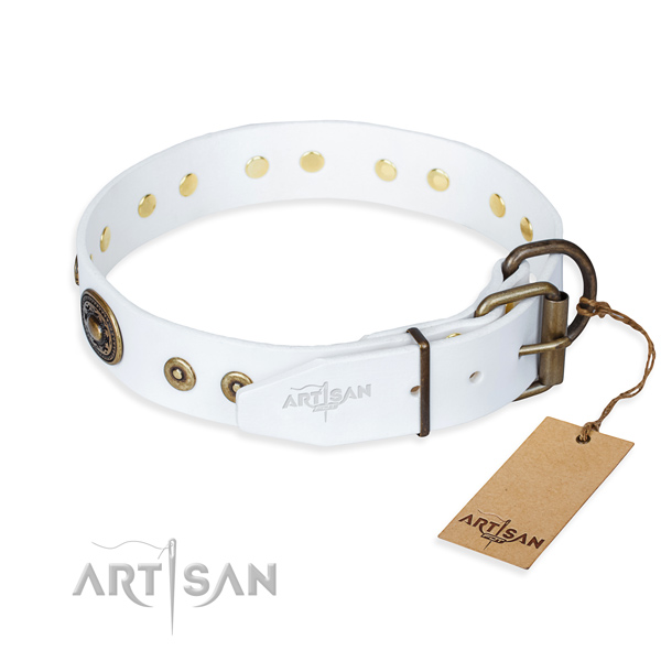 Full grain natural leather dog collar made of top rate material with corrosion proof adornments