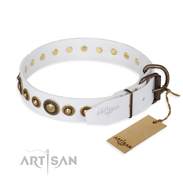 Soft to touch natural genuine leather dog collar created for easy wearing