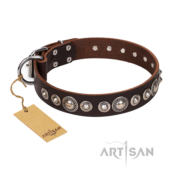 Top notch adorned dog collar of natural leather