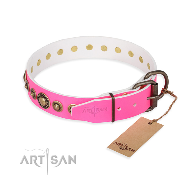 Soft to touch full grain leather dog collar created for everyday use