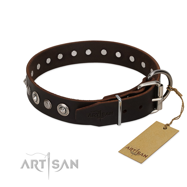 Durable natural leather dog collar with exquisite adornments