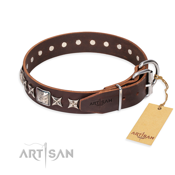 Strong embellished dog collar of full grain genuine leather