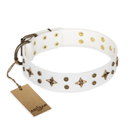 """Bright Stars"" FDT Artisan White Leather Collie Collar with Old Bronze Look Decorations"