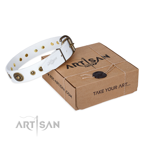 Full grain genuine leather dog collar made of high quality material with strong D-ring