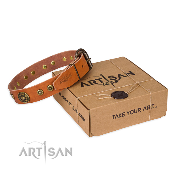 Genuine leather dog collar made of reliable material with rust-proof D-ring