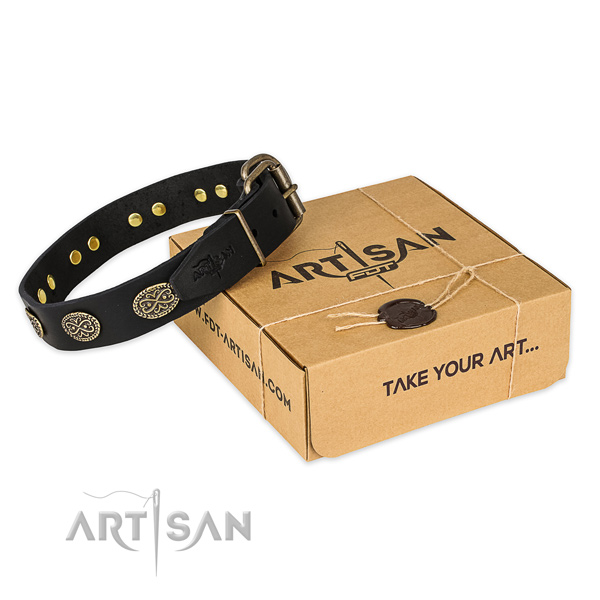 Reliable fittings on genuine leather collar for your stylish doggie