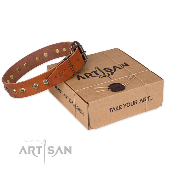 Rust resistant hardware on full grain genuine leather collar for your lovely doggie
