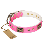 """Frenzy Candy"" FDT Artisan Decorated Pink Leather Collie Collar"