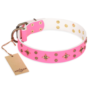 """Chi-Chi Pink Rose"" FDT Artisan Leather Collie Collar with Decorations"