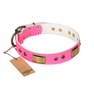 """Pink Daydream"" FDT Artisan Pink Leather Collie Collar with Old Bronze Look Plates and Studs"