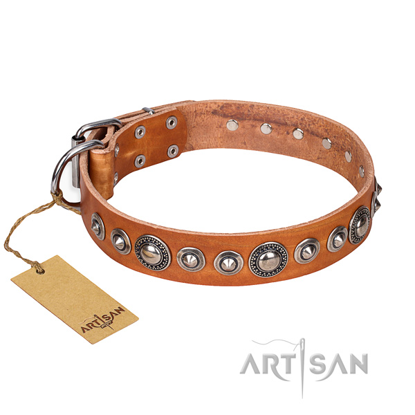 Full grain genuine leather dog collar made of reliable material with strong hardware