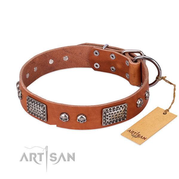 Easy adjustable full grain leather dog collar for basic training your doggie