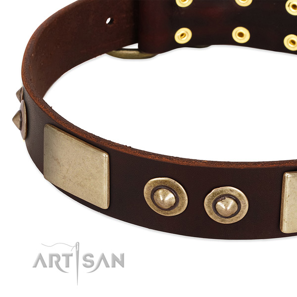 Strong buckle on full grain genuine leather dog collar for your doggie