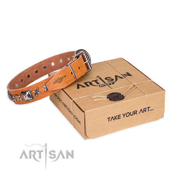 Handy use dog collar of best quality full grain genuine leather with embellishments