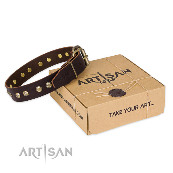 Corrosion resistant hardware on full grain genuine leather collar for your attractive pet