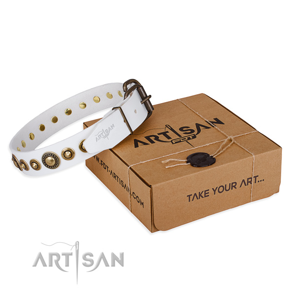 Strong natural genuine leather dog collar crafted for comfortable wearing