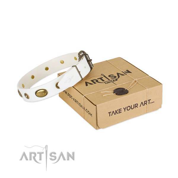 Perfect fit full grain genuine leather collar for your handsome canine