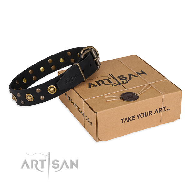Corrosion resistant buckle on full grain natural leather collar for your stylish pet